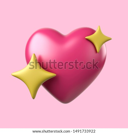 Iphone Emoji heart with the stars illustration. Pink Emoji Facebook reactions vector like social icon. Button for expressing social smileys. 3d render.