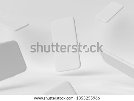 iphone white design creation paper workspace desktop Minimal concept 3d render, 3d illustration.