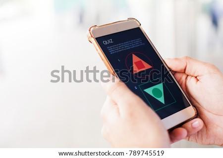 IQ test on a screen of phone