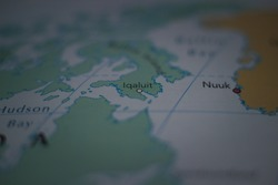 Iqaluit, city in Canada on a geographical map