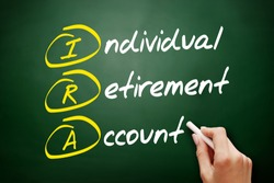 IRA - Individual Retirement Account acronym, concept on blackboard