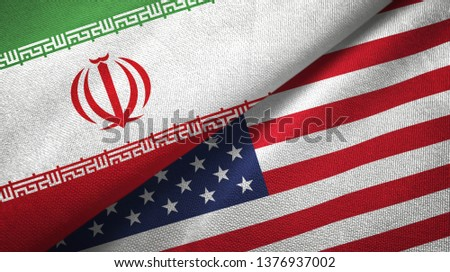 Iran and United States two flags textile cloth, fabric texture #1376937002
