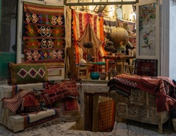 Iran, city of Kashan, the 2th of April 2018. Inside the old Bazaar. Pottery, antiques, carpets.