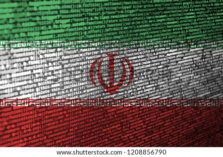 Iran flag  is depicted on the screen with the program code. The concept of modern technology and site development #1208856790