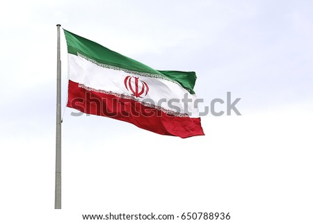 Iran flag waving on the wind On a white background #650788936