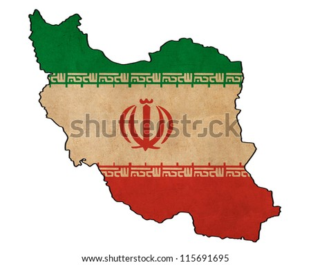 Iran map on Iran  flag drawing ,grunge and retro flag series