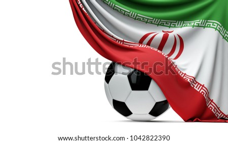 Iran national flag draped over a soccer football ball. 3D Rendering