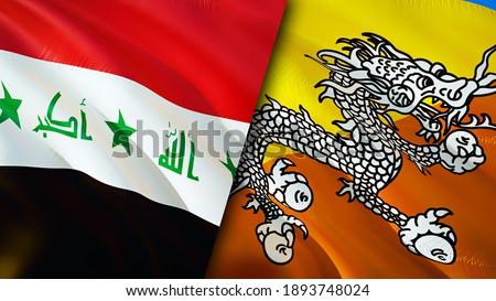 Iraq and Bhutan flags. 3D Waving flag design. Bhutan Iraq flag, picture, wallpaper. Iraq vs Bhutan image,3D rendering. Iraq Bhutan relations alliance and Trade,travel,tourism concept