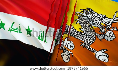Iraq and Bhutan flags with scar concept. Waving flag,3D rendering. Bhutan and Iraq conflict concept. Iraq Bhutan relations concept. flag of Iraq and Bhutan crisis,war, attack concept