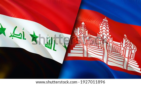 Iraq and Cambodia flags. 3D Waving flag design. Cambodia Iraq flag, picture, wallpaper. Iraq vs Cambodia image,3D rendering. Iraq Cambodia relations alliance and Trade,travel,tourism concept