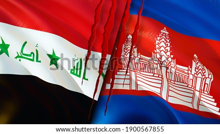 Iraq and Cambodia flags with scar concept. Waving flag,3D rendering. Cambodia and Iraq conflict concept. Iraq Cambodia relations concept. flag of Iraq and Cambodia crisis,war, attack concept