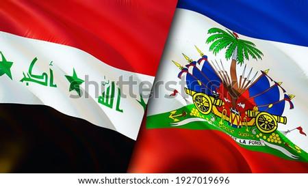 Iraq and Haiti flags. 3D Waving flag design. Haiti Iraq flag, picture, wallpaper. Iraq vs Haiti image,3D rendering. Iraq Haiti relations alliance and Trade,travel,tourism concept