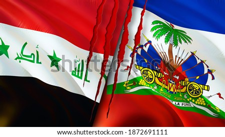 Iraq and Haiti flags with scar concept. Waving flag,3D rendering. Haiti and Iraq conflict concept. Iraq Haiti relations concept. flag of Iraq and Haiti crisis,war, attack concept