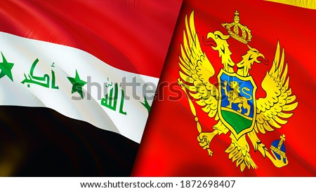 Iraq and Montenegro flags. 3D Waving flag design. Montenegro Iraq flag, picture, wallpaper. Iraq vs Montenegro image,3D rendering. Iraq Montenegro relations alliance and Trade,travel,tourism concept