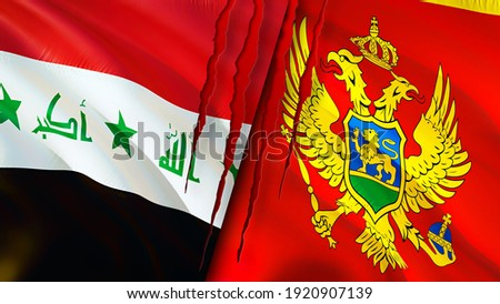 Iraq and Montenegro flags with scar concept. Waving flag,3D rendering. Montenegro and Iraq conflict concept. Iraq Montenegro relations concept. flag of Iraq and Montenegro crisis,war, attack concept