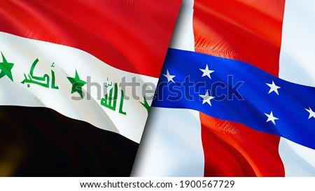 Iraq and Netherlands Antilles flags. 3D Waving flag design. Netherlands Antilles Iraq flag, picture, wallpaper. Iraq vs Netherlands Antilles image,3D rendering. Iraq Netherlands Antilles relations
