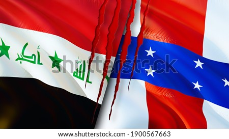 Iraq and Netherlands Antilles flags with scar concept. Waving flag,3D rendering. Netherlands Antilles and Iraq conflict concept. Iraq Netherlands Antilles relations concept. flag of Iraq and