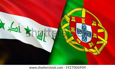 Iraq and Portugal flags. 3D Waving flag design. Portugal Iraq flag, picture, wallpaper. Iraq vs Portugal image,3D rendering. Iraq Portugal relations alliance and Trade,travel,tourism concept