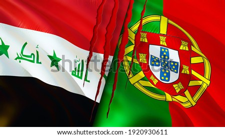 Iraq and Portugal flags with scar concept. Waving flag,3D rendering. Portugal and Iraq conflict concept. Iraq Portugal relations concept. flag of Iraq and Portugal crisis,war, attack concept