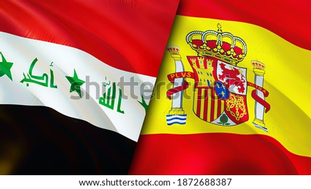 Iraq and Spain flags. 3D Waving flag design. Spain Iraq flag, picture, wallpaper. Iraq vs Spain image,3D rendering. Iraq Spain relations alliance and Trade,travel,tourism concept