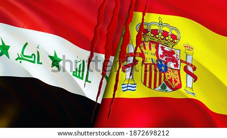 Iraq and Spain flags with scar concept. Waving flag,3D rendering. Spain and Iraq conflict concept. Iraq Spain relations concept. flag of Iraq and Spain crisis,war, attack concept