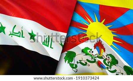 Iraq and Tibet flags. 3D Waving flag design. Tibet Iraq flag, picture, wallpaper. Iraq vs Tibet image,3D rendering. Iraq Tibet relations alliance and Trade,travel,tourism concept