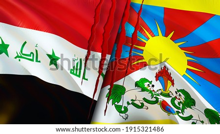 Iraq and Tibet flags with scar concept. Waving flag,3D rendering. Tibet and Iraq conflict concept. Iraq Tibet relations concept. flag of Iraq and Tibet crisis,war, attack concept