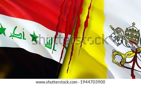 Iraq and Vatican flags with scar concept. Waving flag,3D rendering. Vatican and Iraq conflict concept. Iraq Vatican relations concept. flag of Iraq and Vatican crisis,war, attack concept