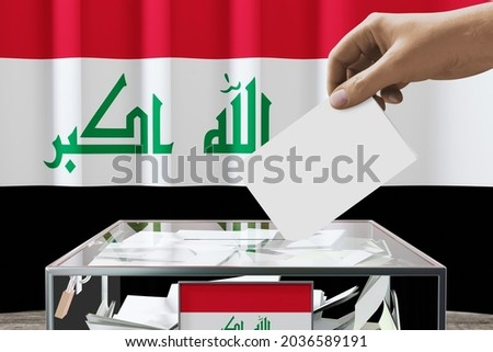Iraq flag, hand dropping ballot card into a box - voting, election concept - 3D illustration