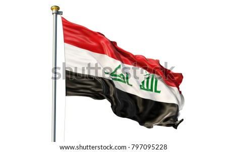 Iraq flag. Isolated 3d Iraq flag