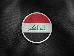 Iraq flag isolated on black with clipping path. flag symbols of Iraq. Iraq flag frame with empty space for your text.