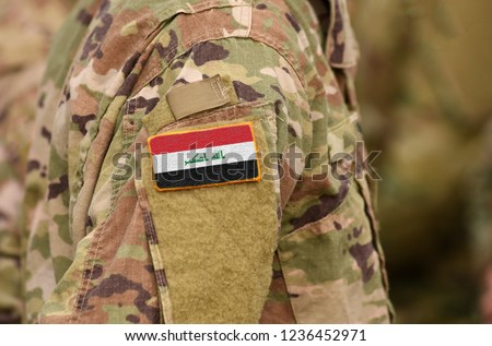 Iraq flag on soldiers arm. Iraq troops (collage).