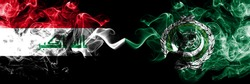Iraq, Iraqi vs Arab League smoky mystic flags placed side by side. Thick colored silky smokes flags together