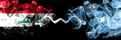 Iraq, Iraqi vs Micronesia, Micronesian smoky mystic flags placed side by side. Thick colored silky smokes flags together