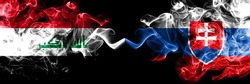 Iraq, Iraqi vs Slovakia, Slovakian smoky mystic flags placed side by side. Thick colored silky smokes flags together