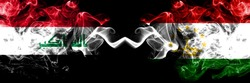 Iraq, Iraqi vs Tajikistan, Tajikistani smoky mystic flags placed side by side. Thick colored silky smokes flags together