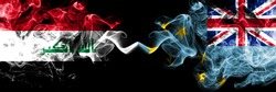 Iraq, Iraqi vs Tuvalu, Tuvaluan smoky mystic flags placed side by side. Thick colored silky smokes flags together