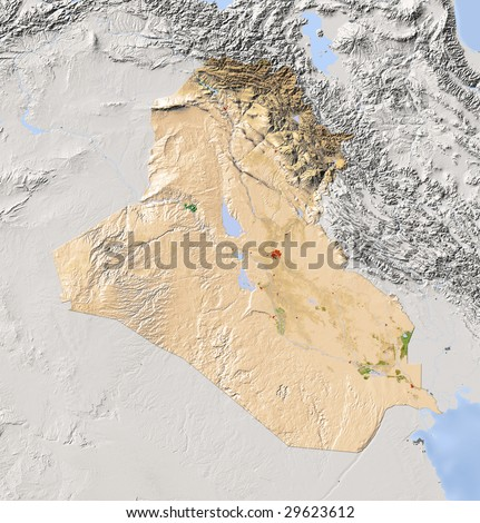 Iraq. Shaded relief map. Surrounding territory greyed out. Colored according to vegetation. Includes clip path for the state area.