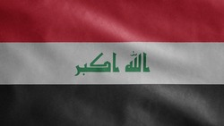 Iraqi flag waving in the wind. Close up of Iraq banner blowing, soft and smooth silk. Cloth fabric texture ensign background. Use it for national day and country occasions concept.
