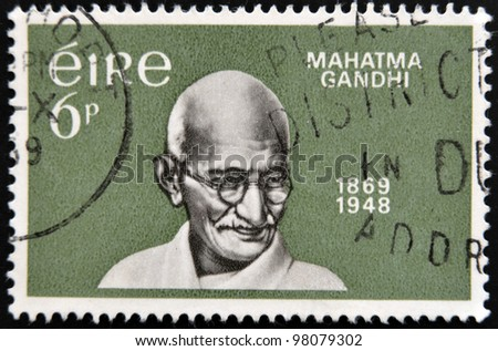 IRELAND - CIRCA 1969 : A stamp printed in Ireland shows Mahatma Gandhi, circa 1969