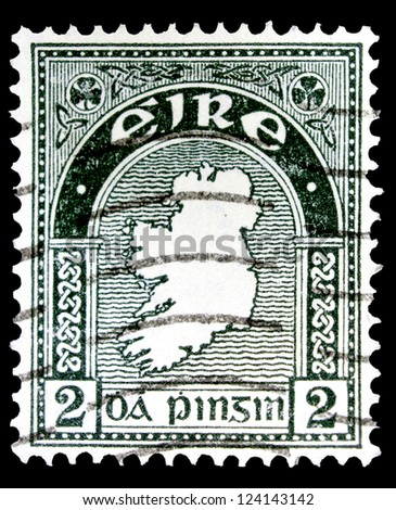 "IRELAND - CIRCA 1922: A stamp printed in Ireland shows Map of Ireland, without the inscription, from the series ""Map of Ireland"", circa 1922"