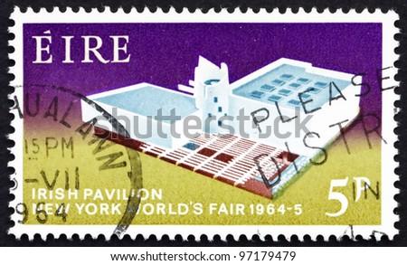 IRELAND - CIRCA 1964: a stamp printed in the Ireland shows Irish Pavilion, New York World's Fair, 1964, circa 1964
