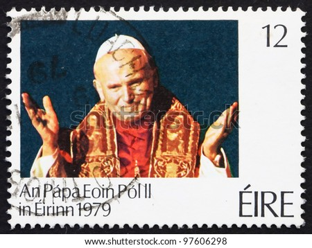 IRELAND - CIRCA 1979: A stamp printed in the Ireland shows Pope John Paul II, Visit of Pope John Paul II to Ireland, circa 1979