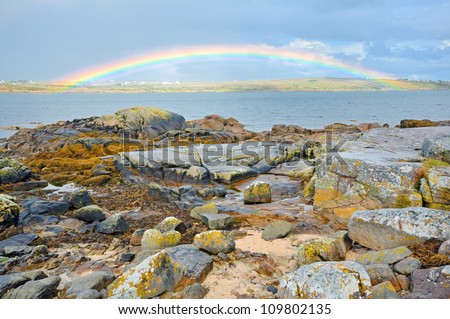 ireland countryside rainbow