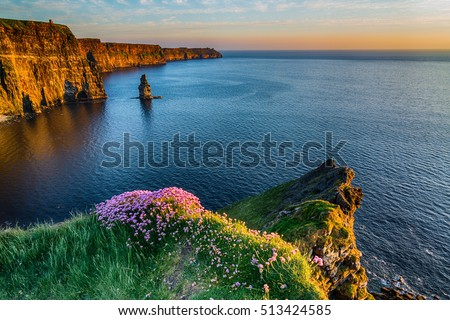 Ireland countryside tourist attraction in County Clare. The Cliffs of Moher and castle Ireland. Epic Irish Landscape  UNESCO Global Geopark the wild atlantic way. Beautiful scenic nature hdr Ireland. Stock fotó ©