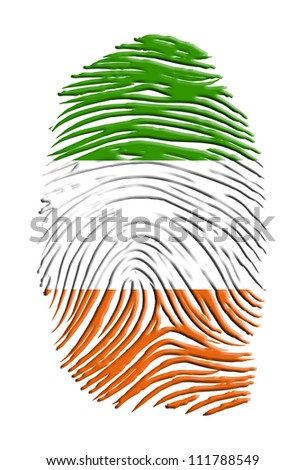 Ireland Flag finger print isolated on white