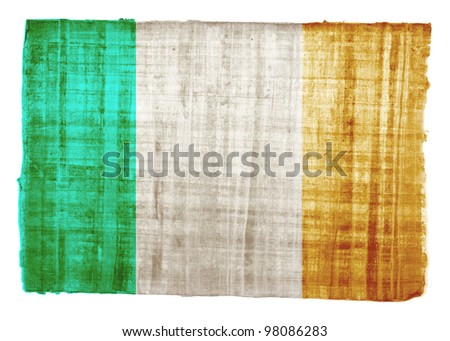 Ireland flag on original papyrus background