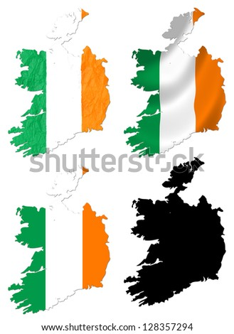 Ireland flag over map collage