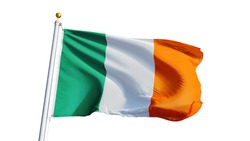 Ireland flag waving on white background, close up, isolated with clipping path mask alpha channel transparency