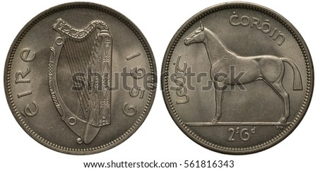 Shutterstock Ireland Irish coin 2 shillings 6 pence half crown 1959, Irish harp, horse, denomination below,